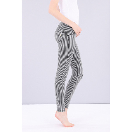 WR.UP DENIM EFFECT JEGGINS - REGULAR WAIST SKINNY - MADE IN ITALY - J7N - STRIPED BLACK & WHITE