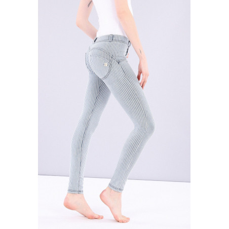 WR.UP DENIM EFFECT JEGGINS - REGULAR WAIST SKINNY - MADE IN ITALY - J0B - STRIPED WHITE & BLUE