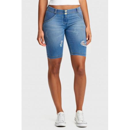 WR.UP® Denim Effect - Regular Waist Long Shorts - J4Y - Clear Denim - Yellow Seam
