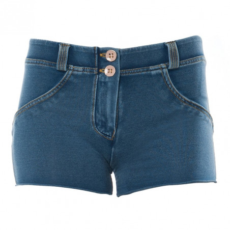 WR.UP Denim Effect - Regular Waist Shorts - J4Y - Clear Denim - Yellow Seam
