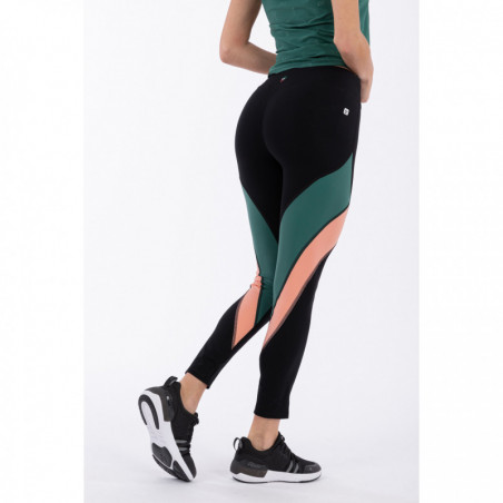 WR.UP® Sport Yoga Leggins - Made In Italy - 7/8 Length - NVP - Black & Smoke Pine & Blooming Dahlia