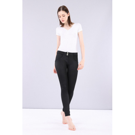 WR.UP REGULAR WAIST SUPER SKINNY - COATED DENIM EFFECT - N - BLACK