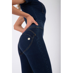 WR.UP DENIM EFFECT - REGULAR WAIST FLARE - JOB - DARK DENIM - BLUE SEAM