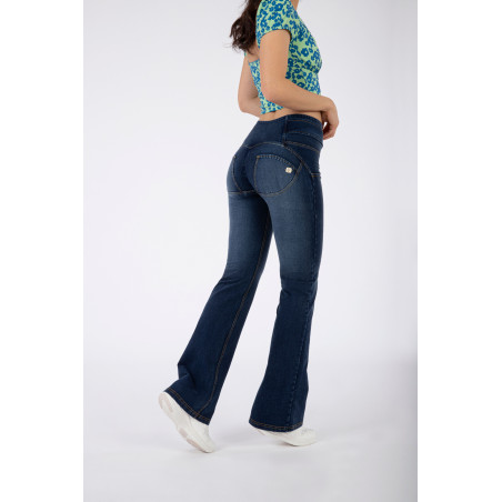 WRUP® Denim Effect - High Waist Flare With Belt - J0Y - Blue Denim - Yellow Seam
