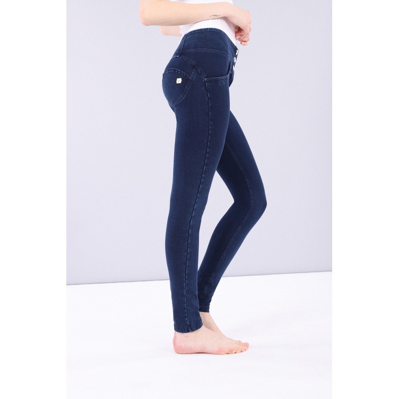 WR.UP REGULAR WAIST SUPER SKINNY - FADED-EFFECT - B102 - BLUE ATLANTIDE