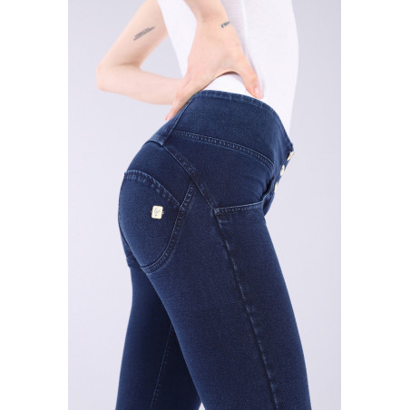 WR.UP® Denim Effect - Mid Waist Skinny - J0B - Dark Denim - Blue Seam