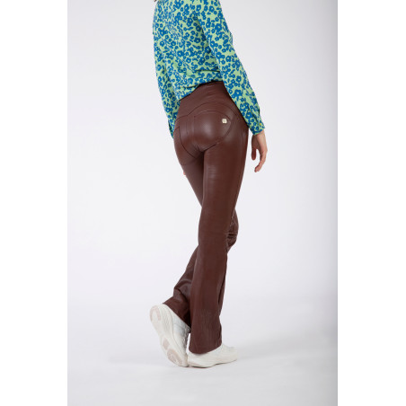 WR.UP® Ecoleather - High Waist Flare - 70S-Style Mille Rayé - M33 - Brown
