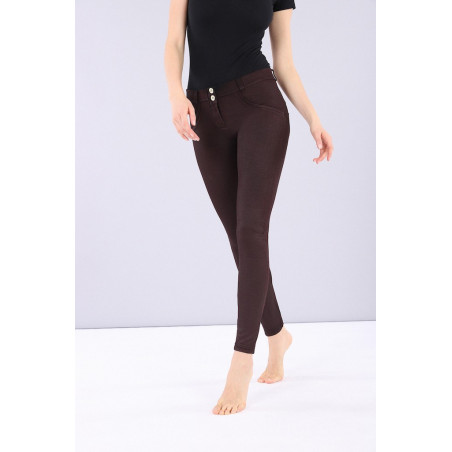 WR.UP REGULAR WAIST SUPER SKINNY - COATED DENIM EFFECT - K83 - TAWNY PORT