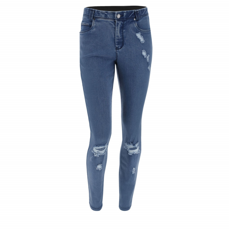 WR.UP REGULAR WAIST SKINNY - ACID WASHED EFFECT - B94 - NAVY BLUE