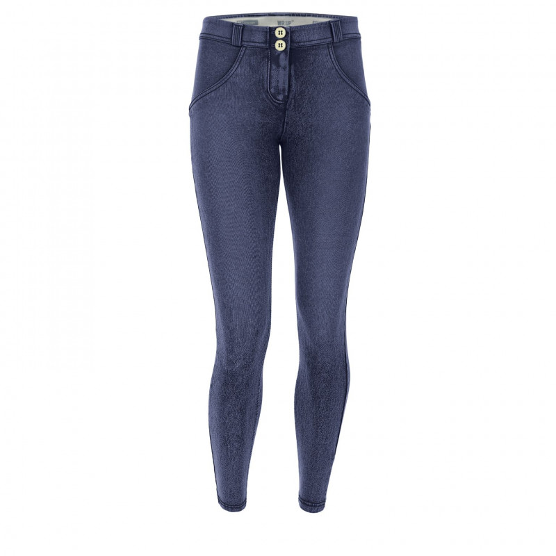 WR.UP DENIM EFFECT - MID WAIST SKINNY - J0Y - DARK DENIM - YELLOW SEAM