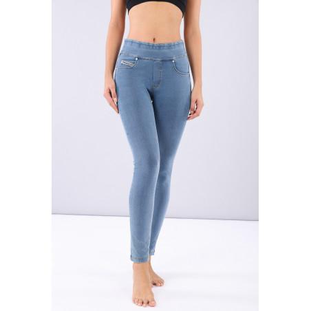 N.O.W® Pants - Mid Waist Skinny - Foldable Waist - J4Y - Clear Denim - Yellow Seam