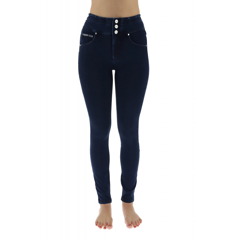 WR.UP MID WAIST SKINNY - ECOLEATHER DETAILED WITH GLITTER BAND - N - BLACK