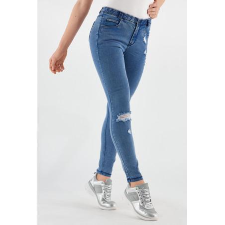 Freddy Black - Skinny Ripped Jeans in Stretch Denim - J4B - Clear Denim - Blue Seams