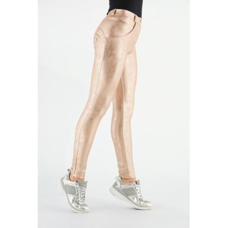 WR.UP® Ecoleather - Regular Waist Skinny - Vintage-Effect  - PO104 - Pink Gold Metallic