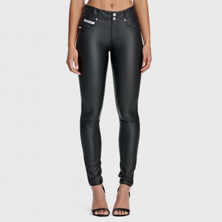 N.O.W® Ecoleather Pants - Mid Waist Skinny - N0 - Black
