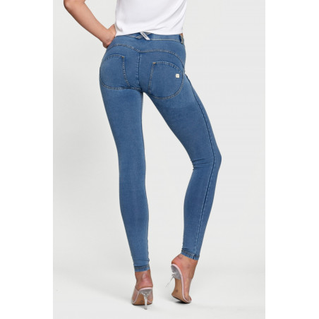 WR.UP DENIM EFFECT - REGULAR WAIST SUPER SKINNY - J4Y - CLEAR DENIM - YELLOW SEAM