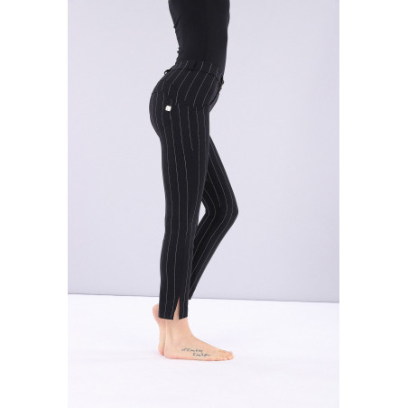 WR.UP REGULAR WAIST SKINNY - MADE IN ITALY - 7/8 LENGHT - N - BLACK PINSTRIPE