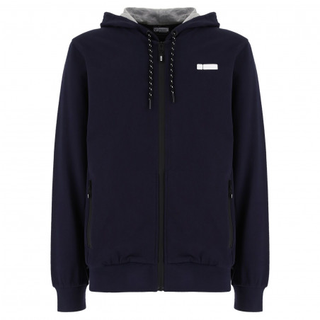 ZIP-FRONT FRENCH TERRY HOODIE - B94 - NAVY BLUE
